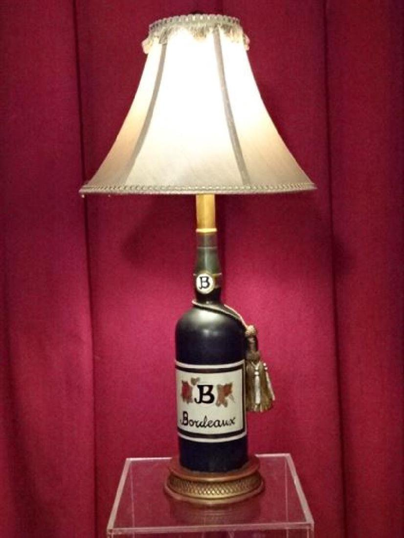 "WINE BOTTLE FORM TABLE LAMP, VERY GOOD CONDITION, 23""H,"