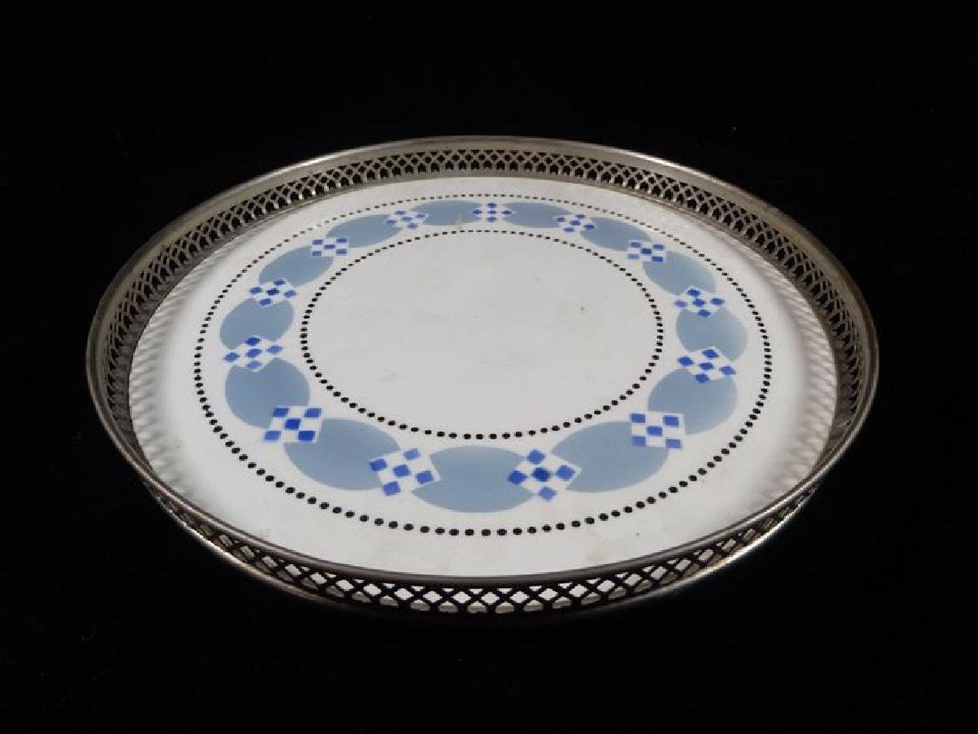 BLUE AND WHITE PORCELAIN TRAY, RETICULATED METAL RAIL,