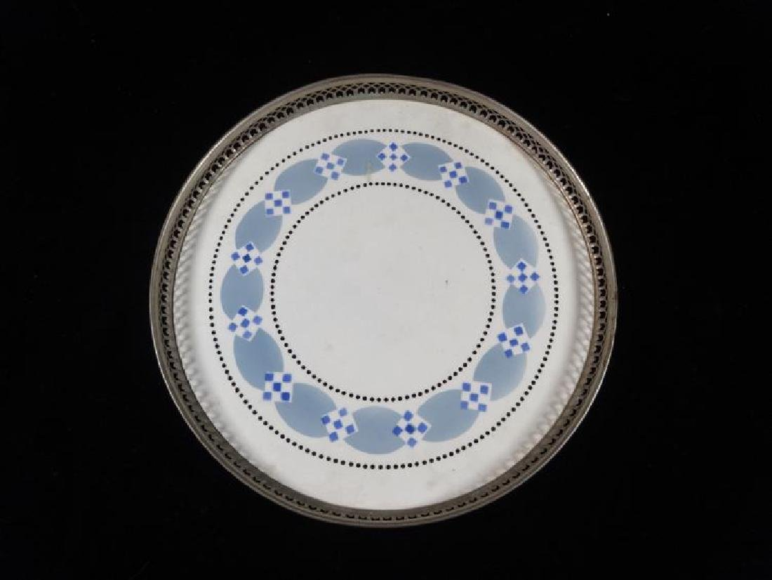 BLUE AND WHITE PORCELAIN TRAY, RETICULATED METAL RAIL, - 2
