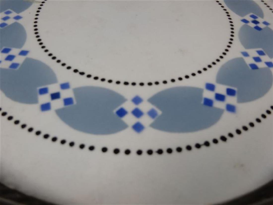BLUE AND WHITE PORCELAIN TRAY, RETICULATED METAL RAIL, - 3