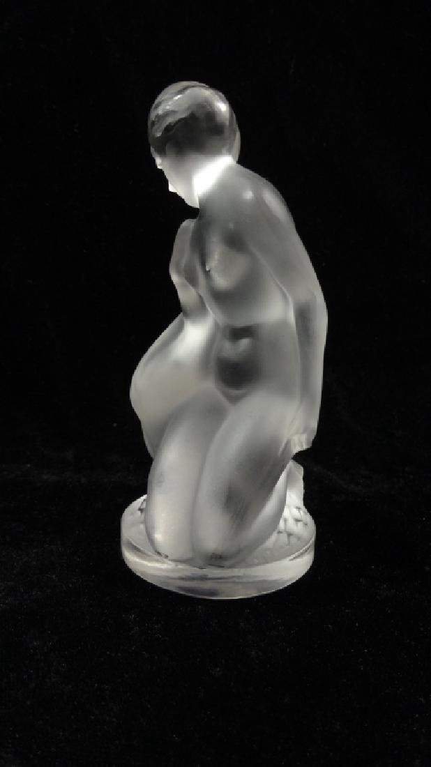 LALIQUE CRYSTAL NUDE WOMAN FIGURINE, LEDA KNEELING WITH - 2