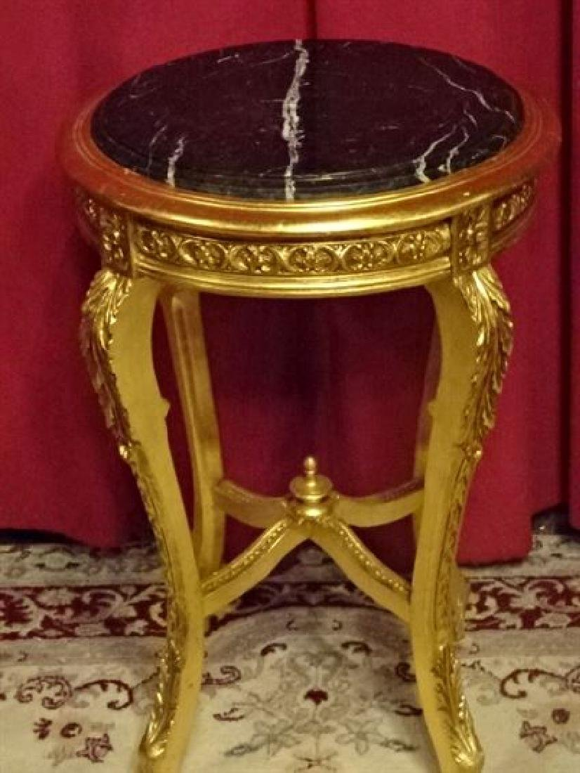 LOUIS XV STYLE GOLD GILT WOOD TABLE, BEVELED BLACK - 2