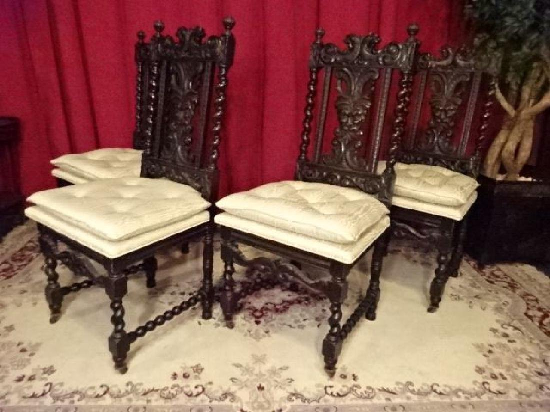 4 ANTIQUE RENAISSANCE REVIVAL CHAIRS, CARVED FACES ON