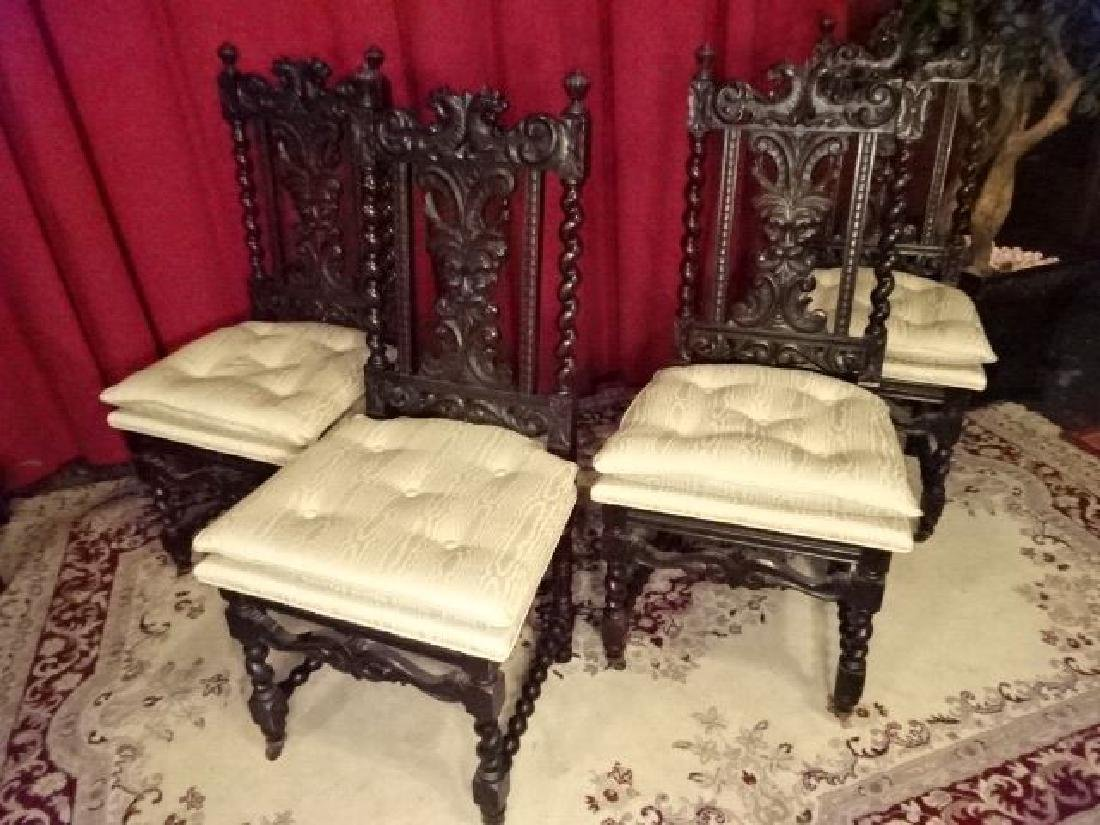 4 ANTIQUE RENAISSANCE REVIVAL CHAIRS, CARVED FACES ON - 3