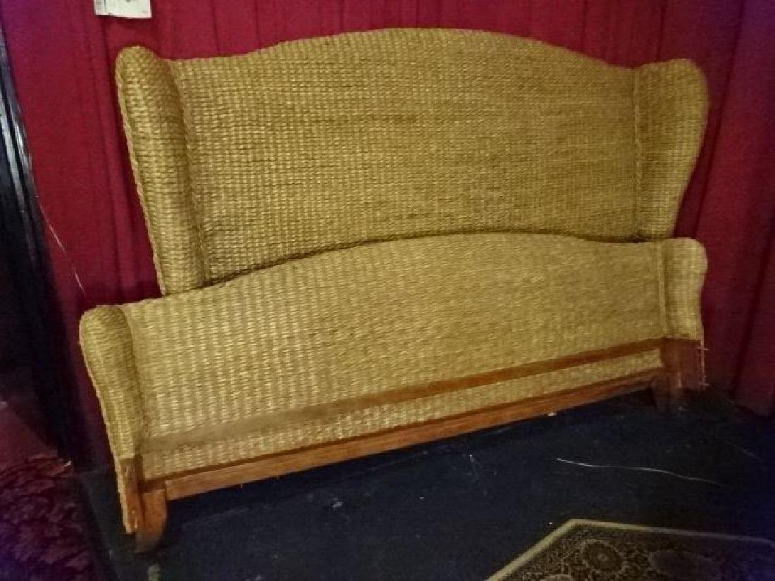 KING SIZE RATTAN AND WOOD BED, TOMMY BAHAMA STYLE,