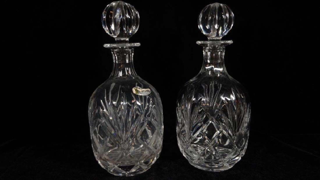 PAIR CRYSTAL DECANTERS, PARTIAL LABEL (MAY BE BLOCK