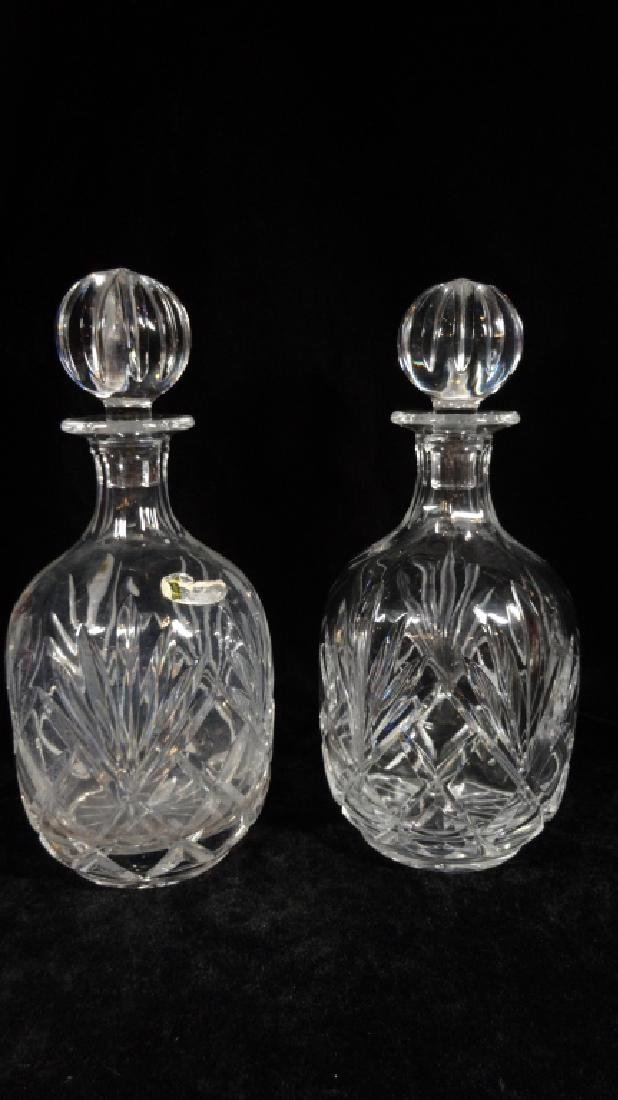 PAIR CRYSTAL DECANTERS, PARTIAL LABEL (MAY BE BLOCK - 2