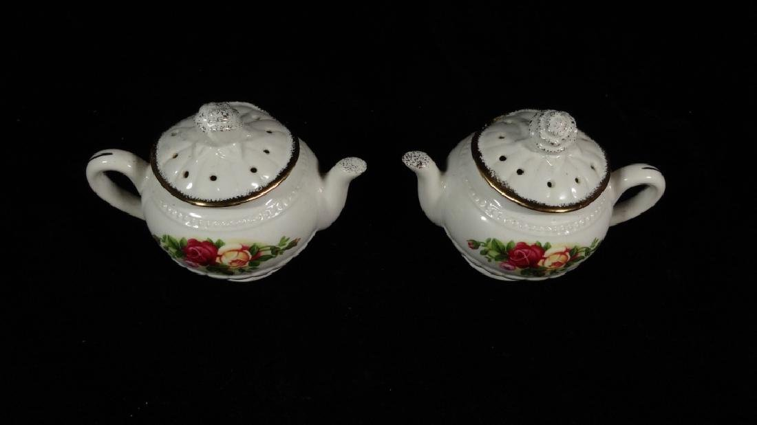 2 PC ROYAL ALBERT PORCELAIN TEAPOT FORM SALT & PEPPER - 2