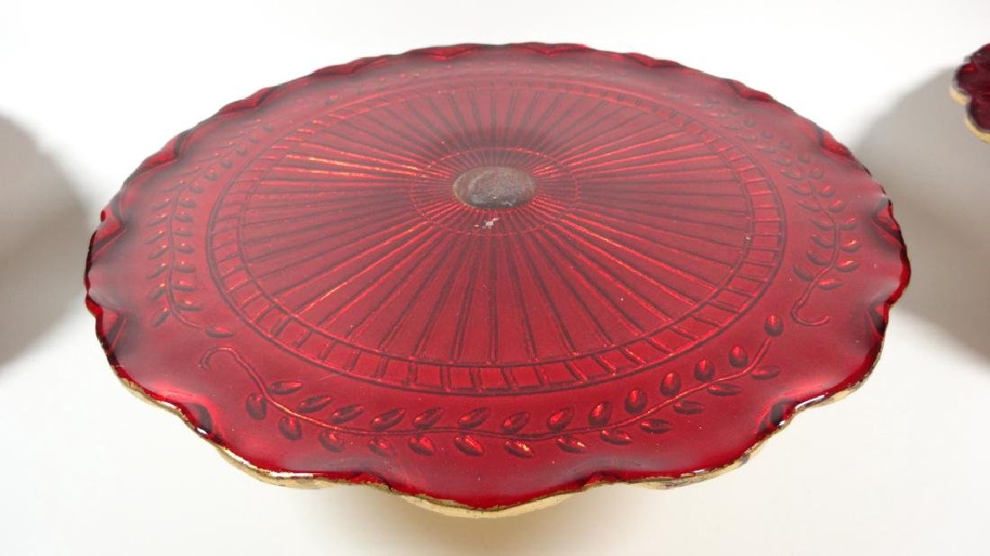 "3 PC RED GLASS CAKE PLATTERS, GOLD TRIM, APPROX 12"" - 3"