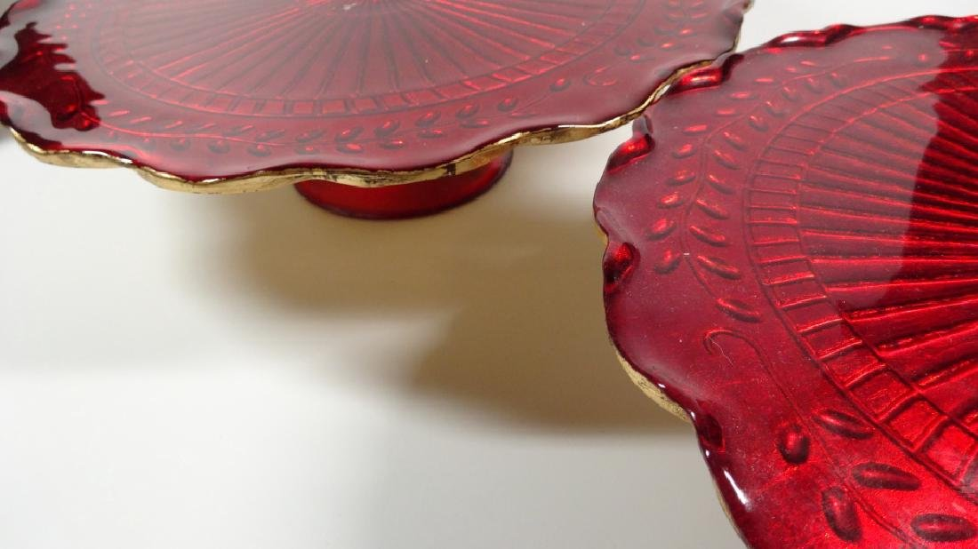 "3 PC RED GLASS CAKE PLATTERS, GOLD TRIM, APPROX 12"" - 5"