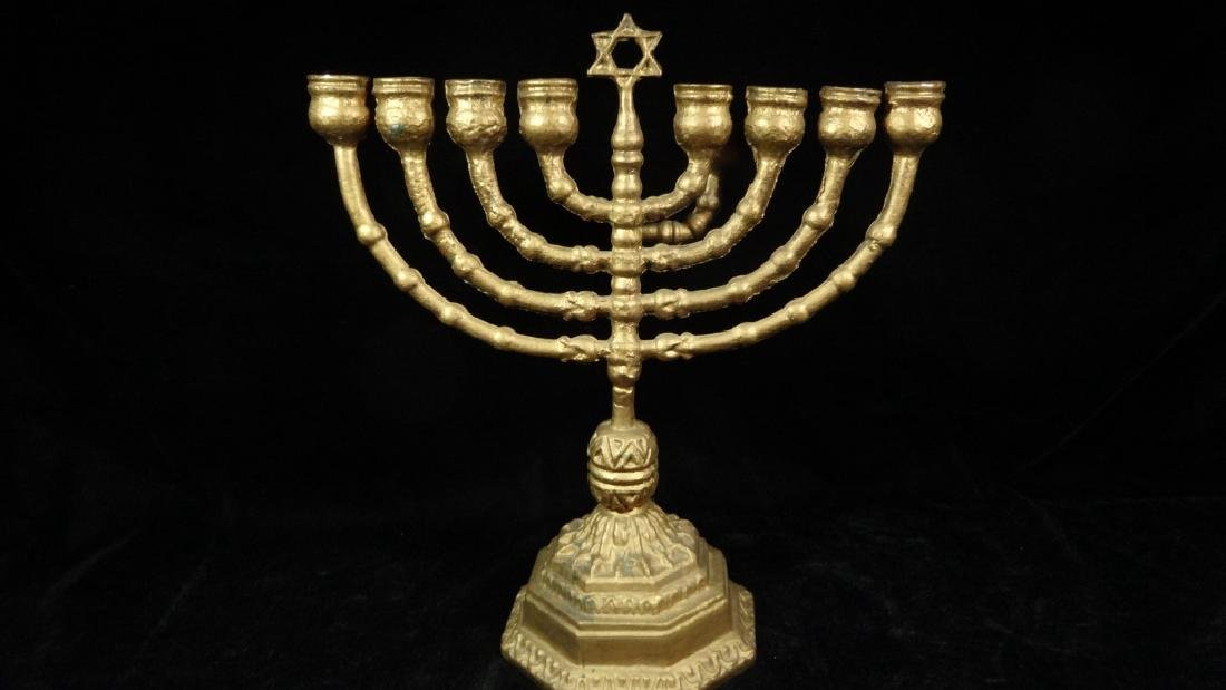 "GOLD FINISH METAL MENORAH, APPROX 10 5/8"" X 9 5/8"","