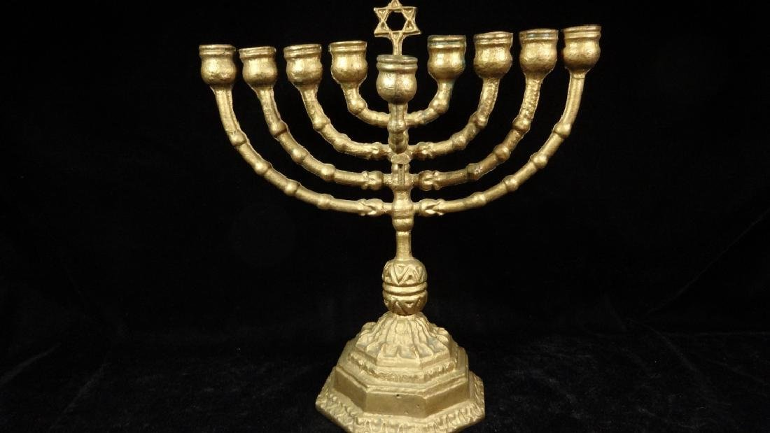 "GOLD FINISH METAL MENORAH, APPROX 10 5/8"" X 9 5/8"", - 2"