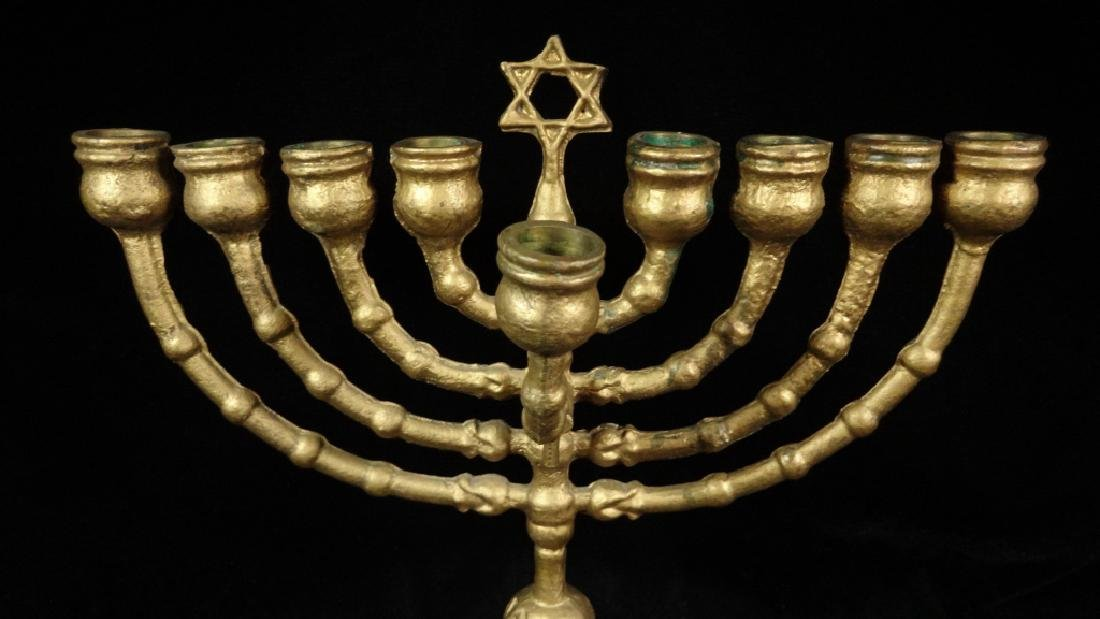 "GOLD FINISH METAL MENORAH, APPROX 10 5/8"" X 9 5/8"", - 3"