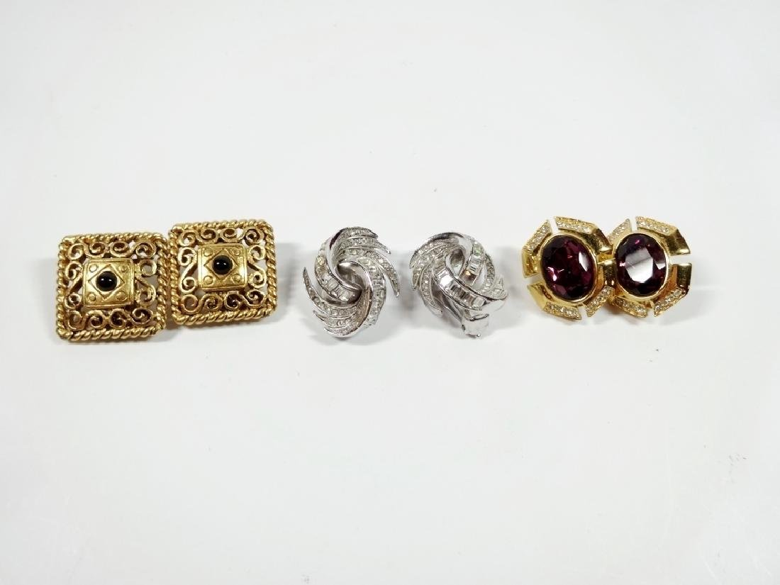 3 PAIRS VINTAGE CLIP EARRINGS, SILVER TONE WITH