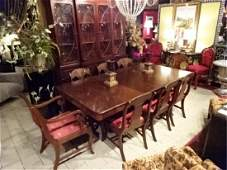 9 PC REGENCY STYLE DINING TABLE AND 8 CHAIRS, DUAL