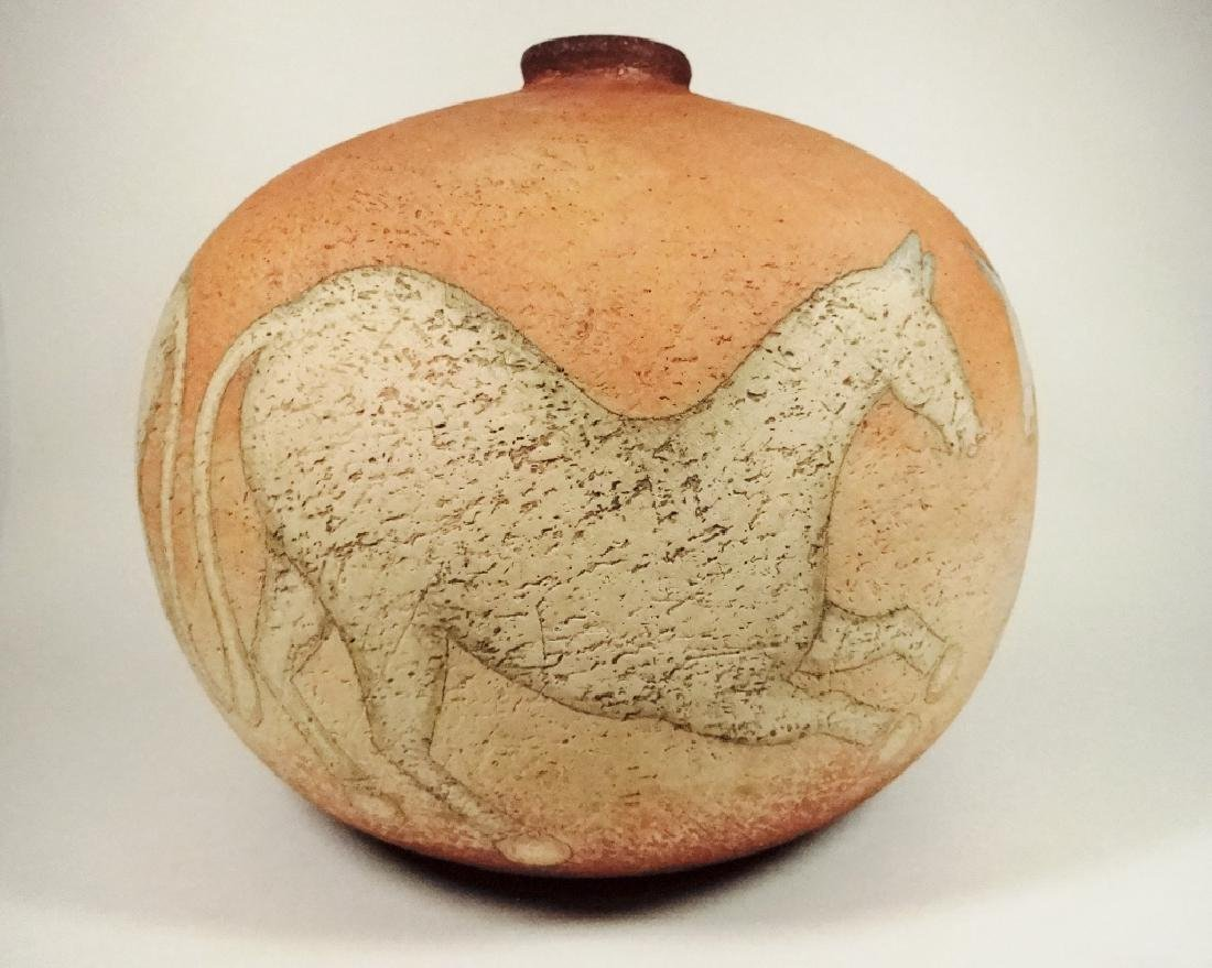 ART POTTERY POT, HORSE DESIGN, SIGNED ON BASE & DATED