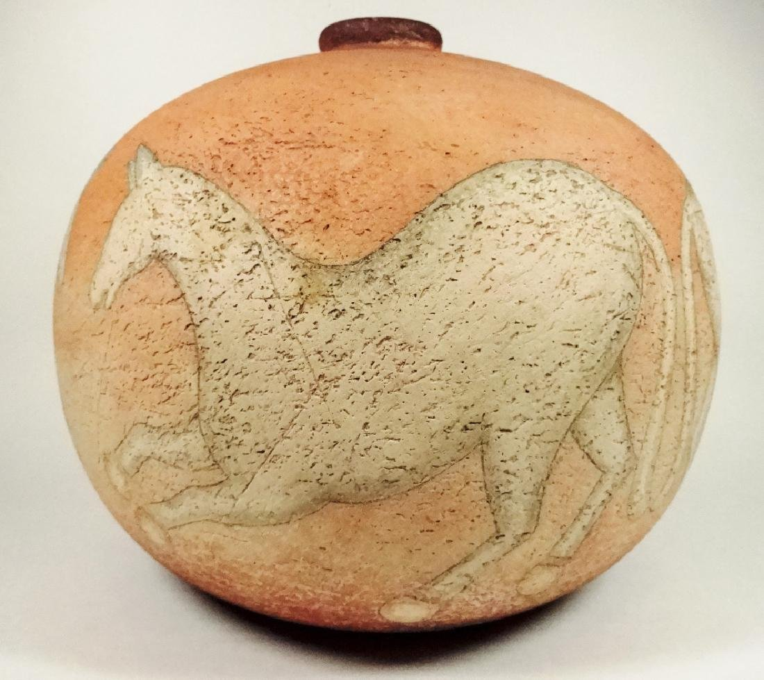 ART POTTERY POT, HORSE DESIGN, SIGNED ON BASE & DATED - 3