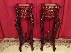 PAIR CARVED WOOD PEDESTALS MARBLE TOPS VERY GOOD