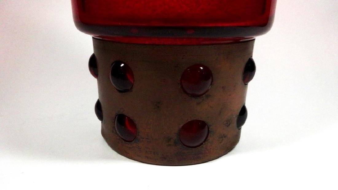 "RED GLASS VASE WITH COPPER BASE, APPROX 8 5/8""H - 4"