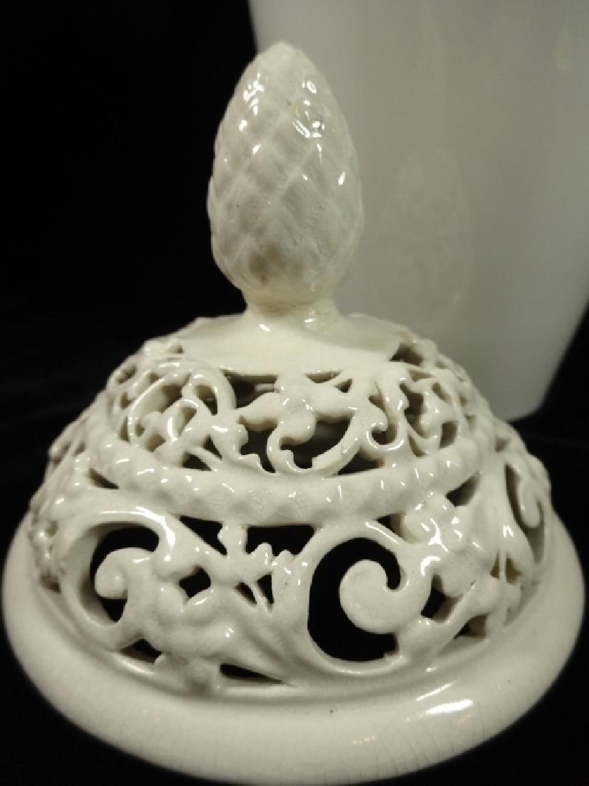 ANTIQUE WILLETS BELLEEK VASE WITH RETICULATED TOP, - 3