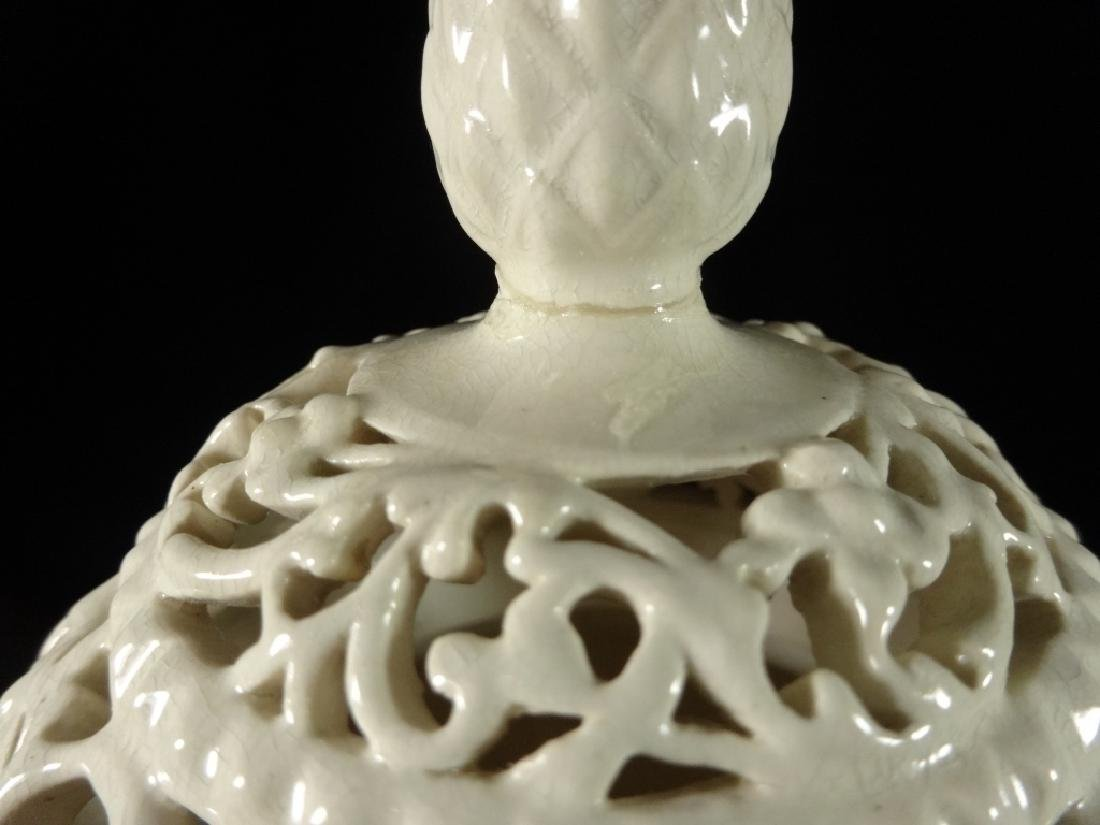 ANTIQUE WILLETS BELLEEK VASE WITH RETICULATED TOP, - 7