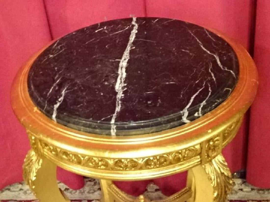 LOUIS XV STYLE GOLD GILT WOOD TABLE, BEVELED BLACK - 4