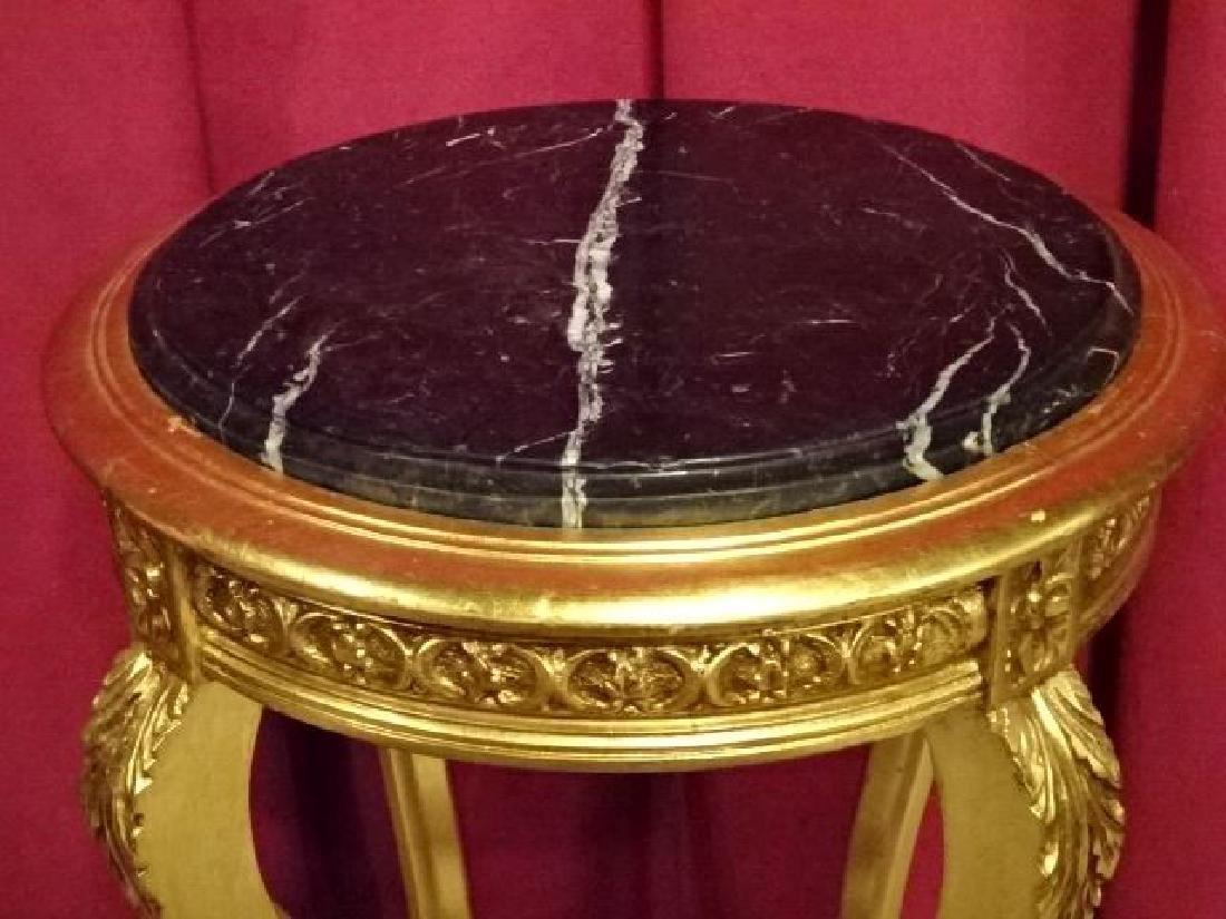 LOUIS XV STYLE GOLD GILT WOOD TABLE, BEVELED BLACK - 5