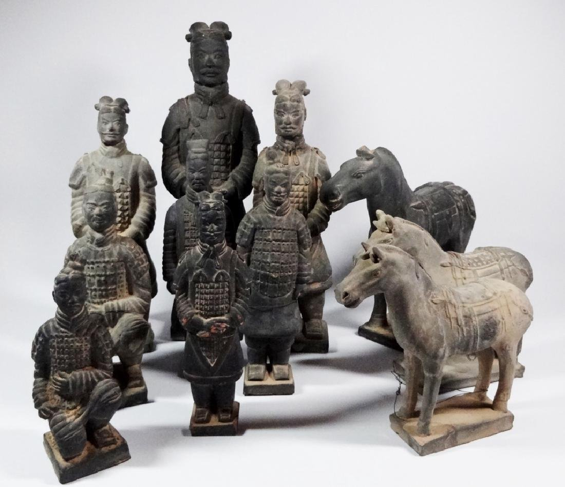 11 PC CHINESE TERRACOTTA ARMY POTTERY FIGURES, INCLUDES