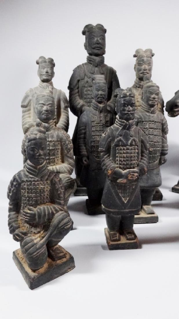 11 PC CHINESE TERRACOTTA ARMY POTTERY FIGURES, INCLUDES - 2