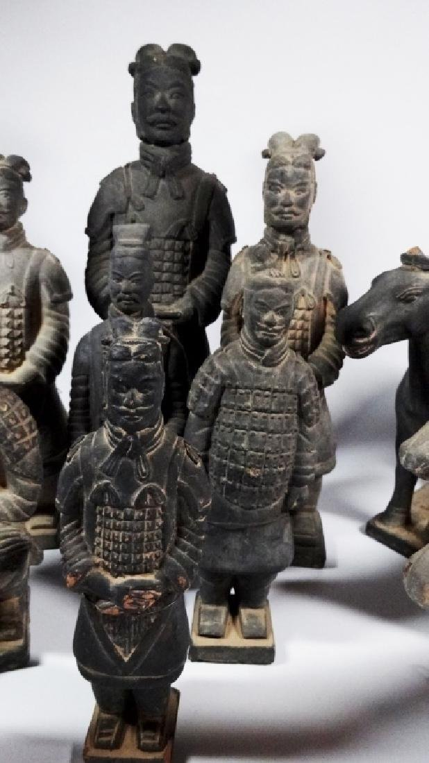 11 PC CHINESE TERRACOTTA ARMY POTTERY FIGURES, INCLUDES - 3