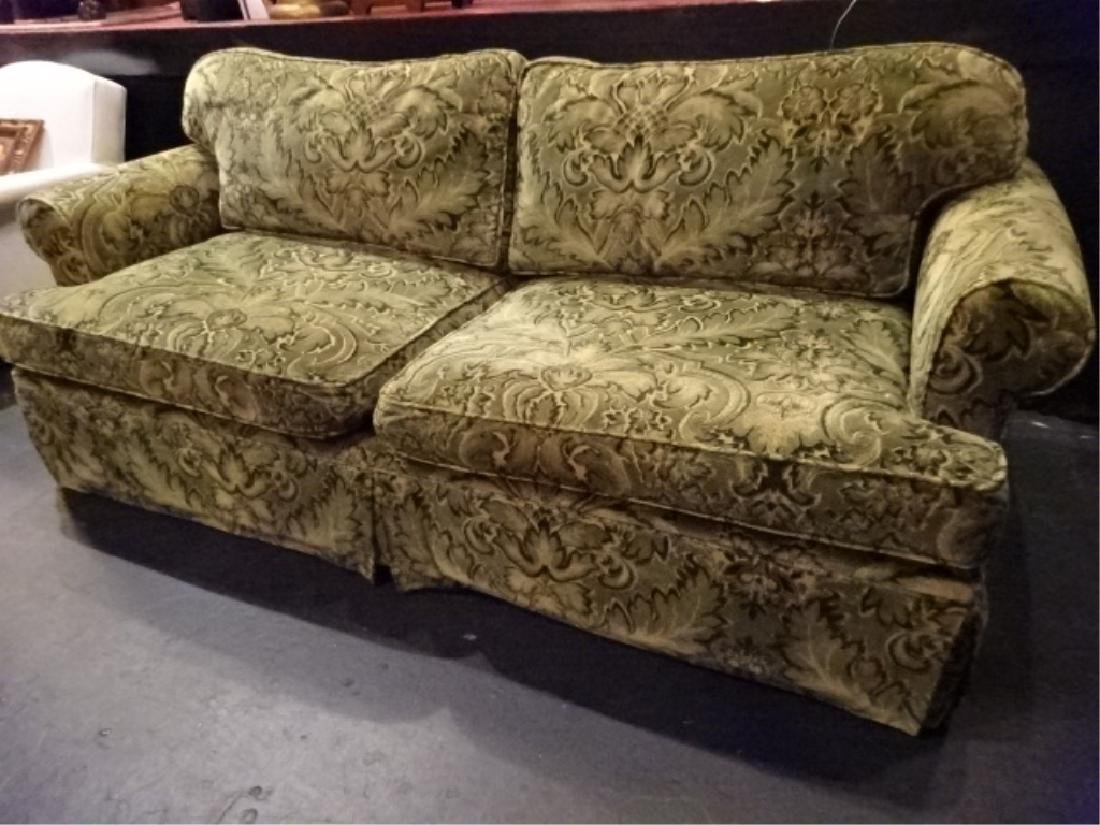 CHENILLE DAMASK SOFA IN GREEN AND GOLD (#1 OF TWO