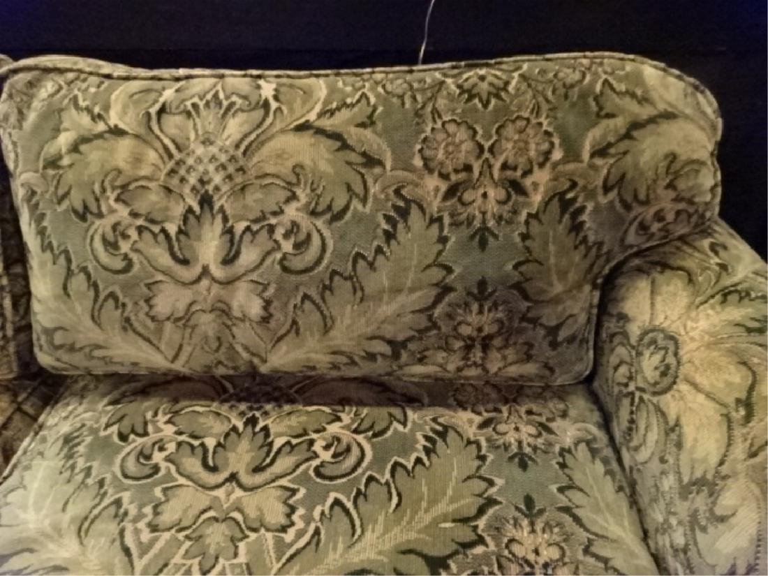 CHENILLE DAMASK SOFA IN GREEN AND GOLD (#1 OF TWO - 2