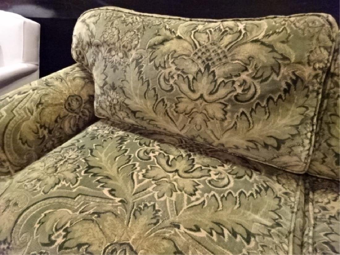 CHENILLE DAMASK SOFA IN GREEN AND GOLD (#1 OF TWO - 3