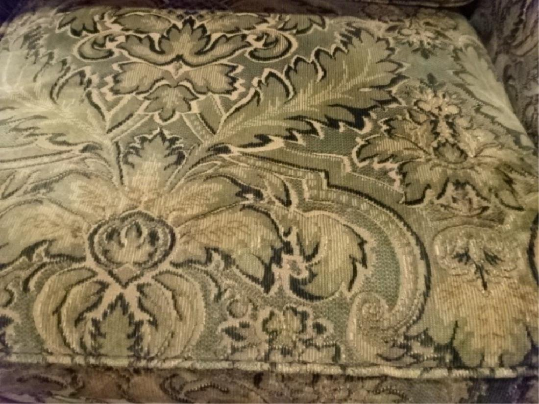 CHENILLE DAMASK SOFA IN GREEN AND GOLD (#1 OF TWO - 4