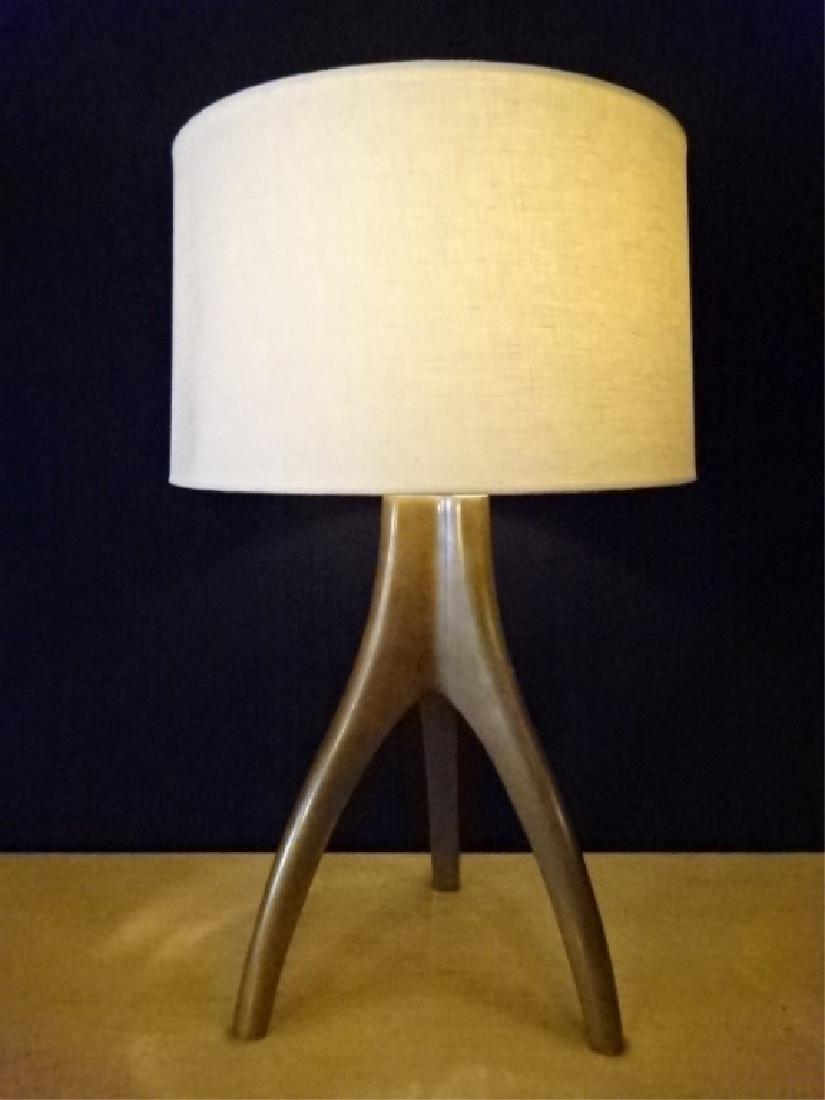 MID CENTURY MODERN BRONZE LAMP, 3 LEGGED BRONZE METAL
