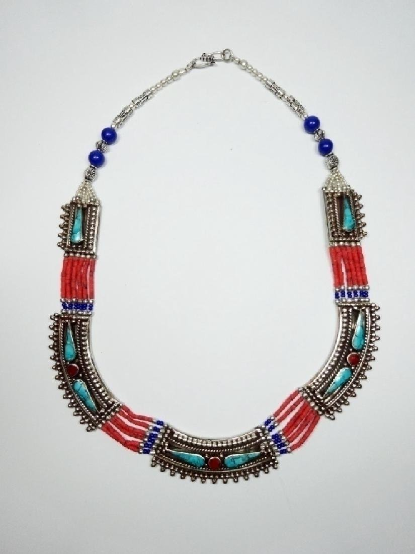 TIBETAN NECKLACE WITH TURQUOISE, LAPIS & CORAL, APPROX - 2