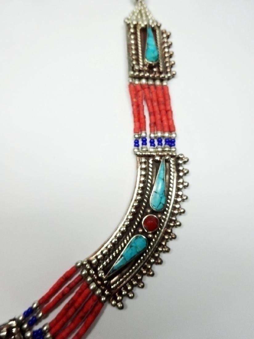 TIBETAN NECKLACE WITH TURQUOISE, LAPIS & CORAL, APPROX - 4