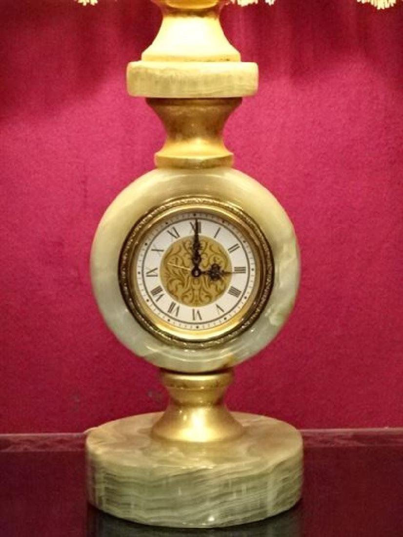 ONYX TABLE LAMP WITH CLOCK BASE, BRASS ACCENTS, FRINGED - 2