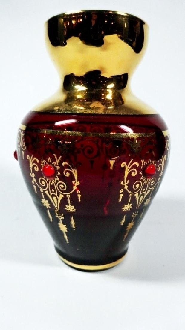 BOHEMAIN RUBY GLASS MINIATURE VASE, GOLD PAINTED - 3