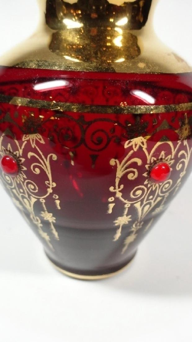 BOHEMAIN RUBY GLASS MINIATURE VASE, GOLD PAINTED - 5