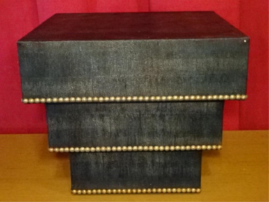 MID CENTURY ZIGGURAT TABLE, KARL SPRINGER STYLE, FAUX - 2