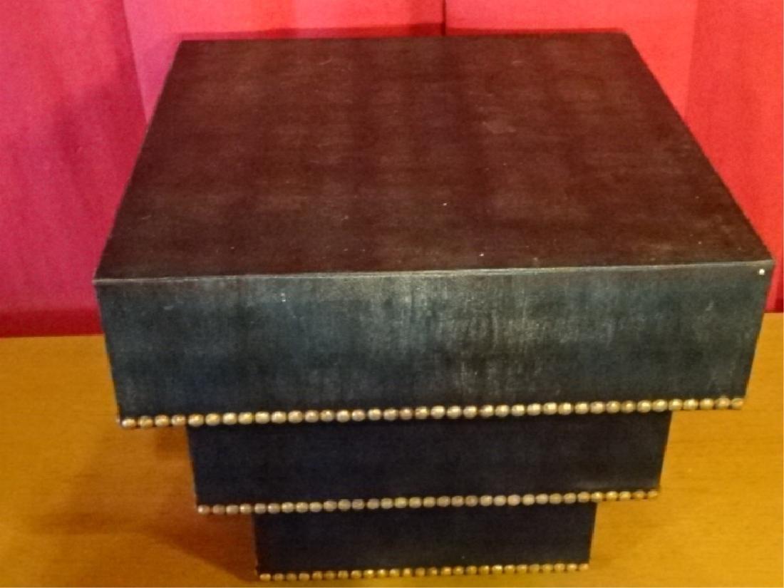 MID CENTURY ZIGGURAT TABLE, KARL SPRINGER STYLE, FAUX - 7
