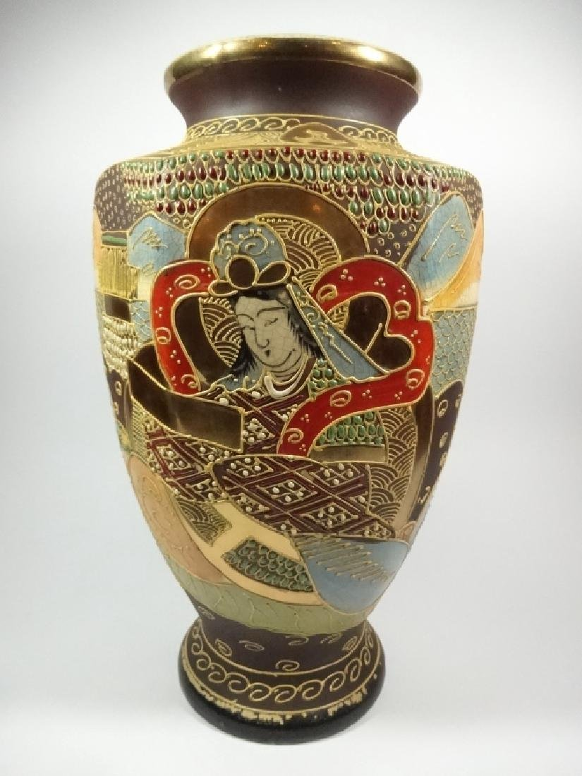 LARGE JAPANESE SATSUMA VASE, HEXAGON BALUSTER STYLE,
