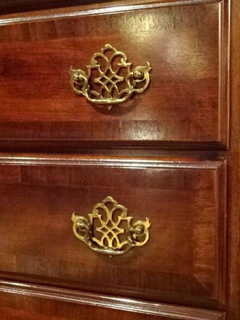 QUEEN ANNE STYLE HIGHBOY CHEST, 9 DRAWERS, BRASS PULLS, - 4