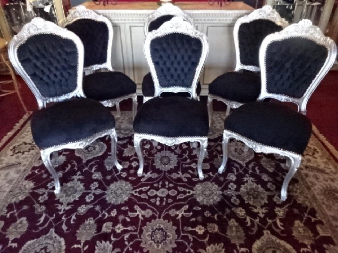 6 PC SILVER GILT ROCOCO DINING CHAIRS, LOUIS XV STYLE,