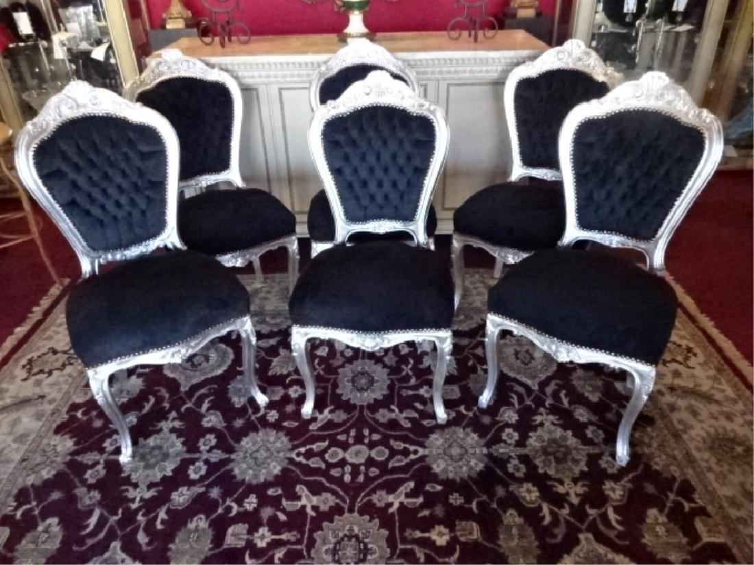 6 PC SILVER GILT ROCOCO DINING CHAIRS, LOUIS XV STYLE, - 2