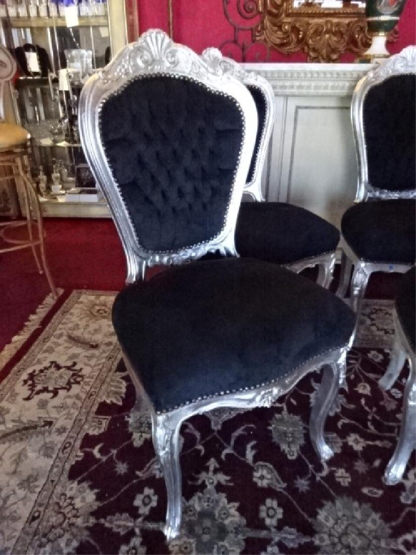 6 PC SILVER GILT ROCOCO DINING CHAIRS, LOUIS XV STYLE, - 3