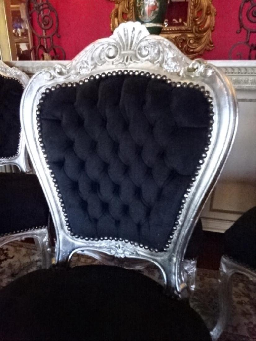 6 PC SILVER GILT ROCOCO DINING CHAIRS, LOUIS XV STYLE, - 4