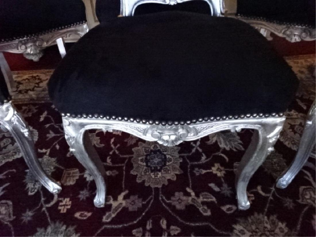 6 PC SILVER GILT ROCOCO DINING CHAIRS, LOUIS XV STYLE, - 5