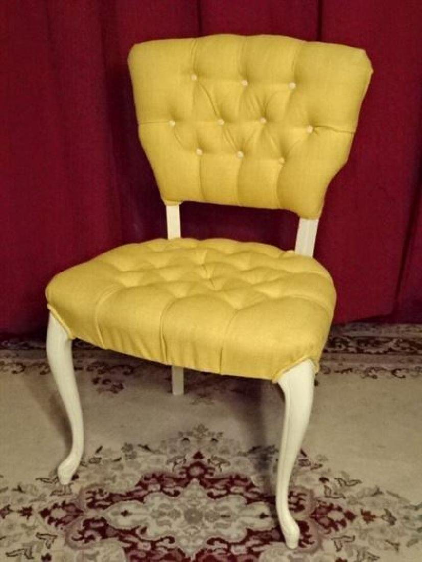 FRENCH STYLE CHAIR, WHITE PAINTED WOOD FRAME, YELLOW